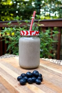 Homemade blueberry post-workout smoothie