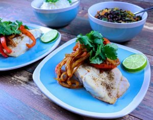 Cuban-Style roasted Red Snapper with black beans and rice