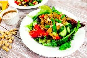 Kung Pao Seitan Salad with Thai Dressing